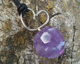 Amethyst and sterling silver heart necklace. Handmade. Heart Jewelry