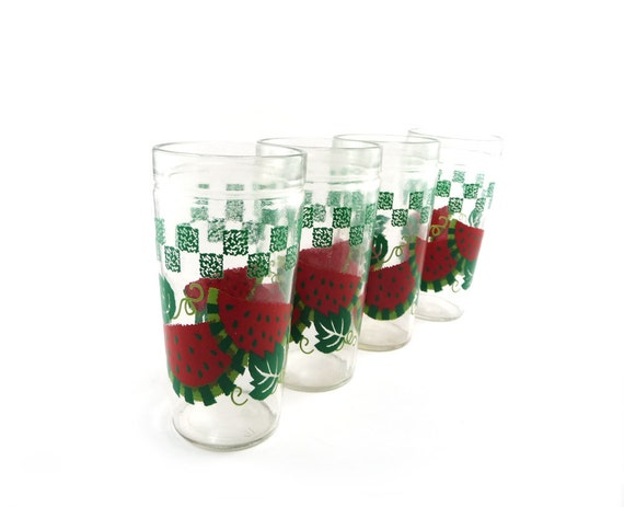 Watermelon drinking glasses - Anchor Hocking red green glassware