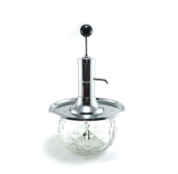 Vintage pump decanter - glass silver black mad men barware decanter
