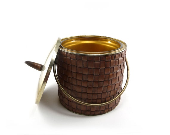 Brass and faux wood ice bucket - vintage woven brown ice bucket mid century barware