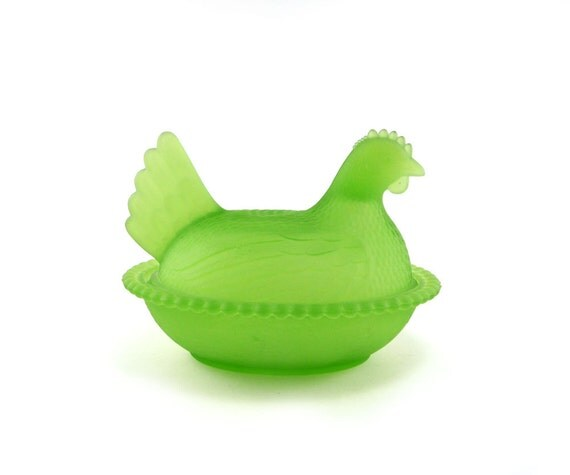 Bright chartreuse Hen on a Nest frosted glass chicken dish - collectible neon satin lime mist