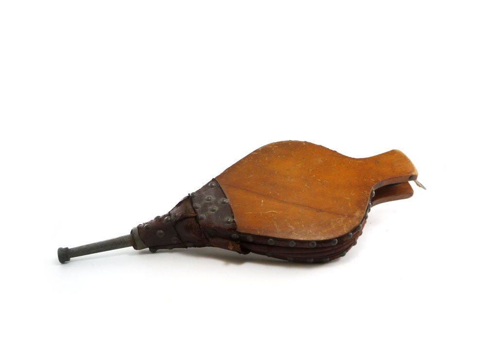 Vintage Fireplace Bellows Wood And Leather By Reconstitutions