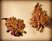 Leaf with Rhinestones Clip On Earrings