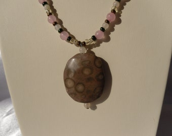 Pink, Copper and Green Beaded Necklace with Rose Quartz and Rhyolite Jasper Pendant