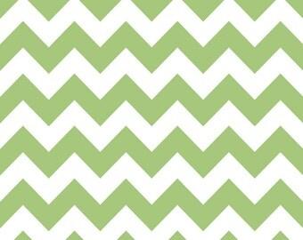 Riley Blake Fabric - Half Yard of Medium Chevron in Green