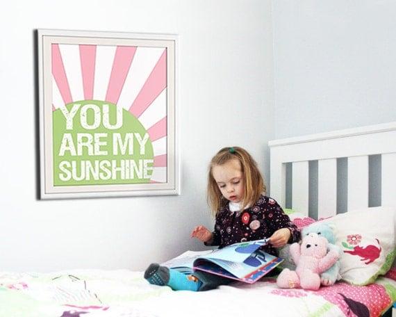 You are my sunshine print. Nursery print song lyrics. Custom colors art for children. Art print sunshine nursery art