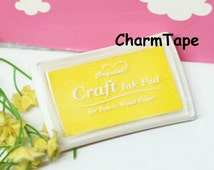 Stamp Ink Pad Oil Based waterproof for wood, fabric and paper - Yellow