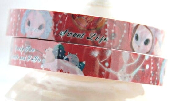 SALE 30% off  Red Deco Tape adhesive Stickers little Bunny celebrating Christmas DT292