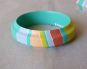 NEW  Pastel colours handpainted wooden bracelet - turquoise, peach, grey, white, yellow and pink