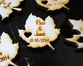 Wood Leaf Wedding Favors Personalized Set of 150