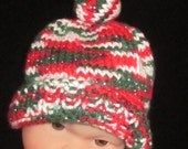 Christmas Multicolored Beanie with top knot and Bell Trim Newborn Photography Prop