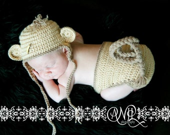 Photography Prop Newborn Monkey Hat and Diaper Cover Set