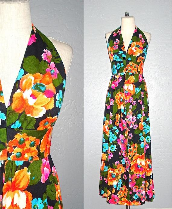 Vintage 60s handmade dress BRIGHT FLORAL halter maxi - S/M