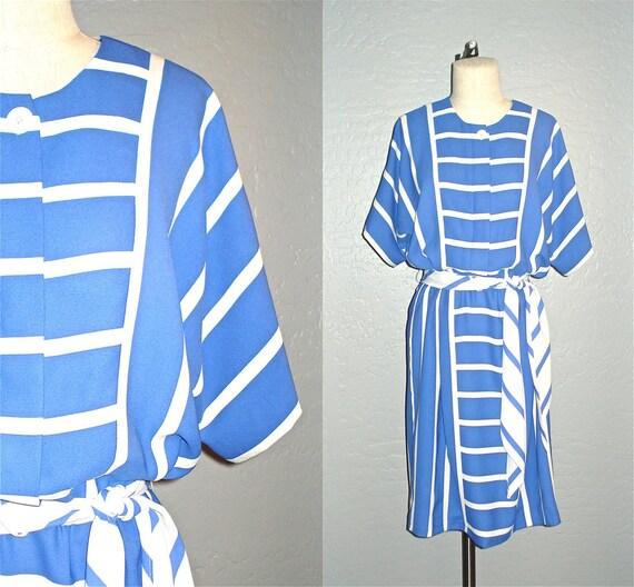 Vintage 80s dress NAUTICAL STRIPED day dress - L