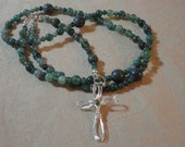 R020 Moss Agate Traditional Catholic Rosary