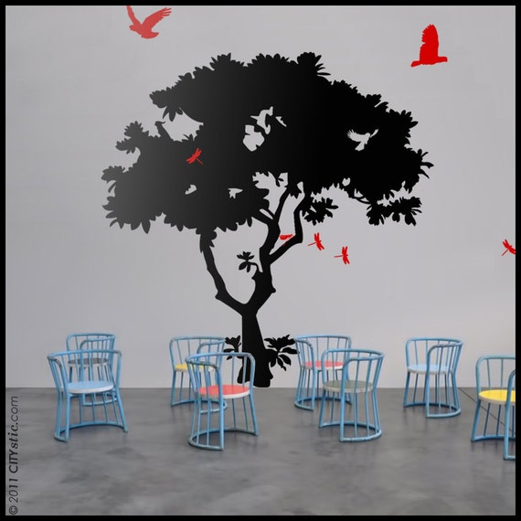 TREE WALL DECAL : Paper Tree with birds, dragonflies, cacatoes. Pacific Asia flora, flowers on the trunk
