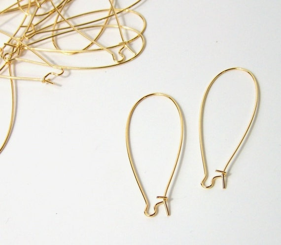 gold earwires, large kidney shaped plated stainless steel, 24 pieces (503FD)