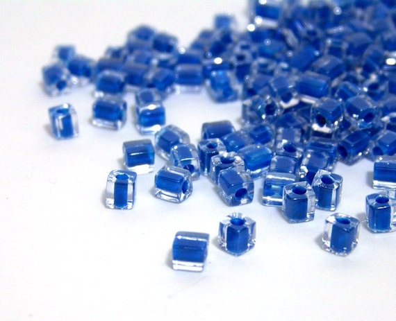 4mm glass cube beads, square bead, clear & blue Miyuki cubes, 200 beads, 511SB