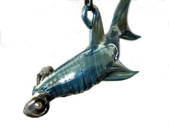 Glass Hammer Head Shark, Deep Sea Blue, Hanging Lampwork Art Suncatcher