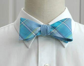 Men's Bow Tie in turquoise and blue plaid (self-tie)