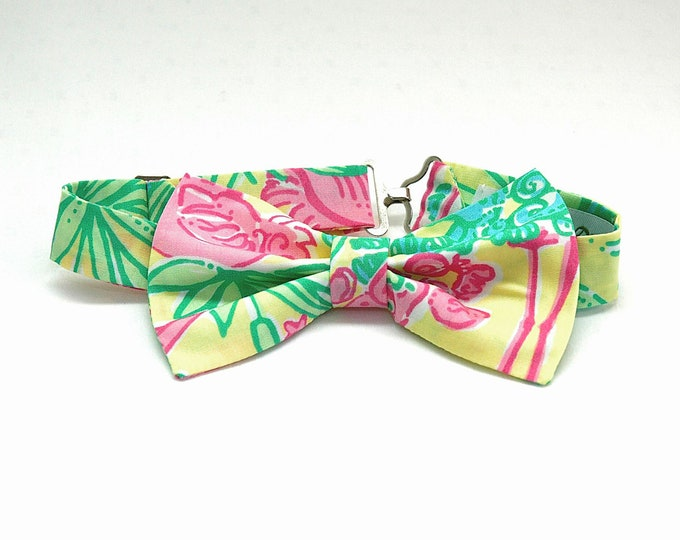 Boy's Bow Tie, Lilly lemon sorbet Snowbirds print, father/son matching bow ties, ring bearer bow tie, toddle bow tie, pink yellow bow tie