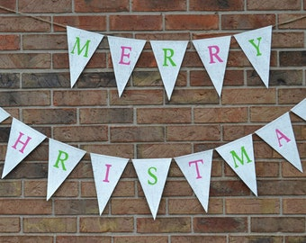 Merry Christmas Banner  ..  Burlap banner  ...  Holiday decoration