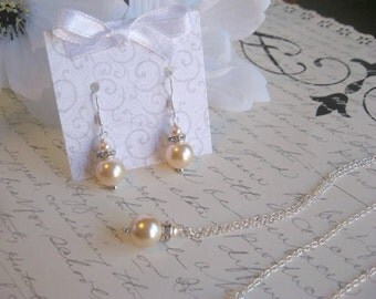 Peach Swarovski Pearl and Swarovski Rhinestone Silver Chain Necklace and Earring Set - Bride or Bridesmaid Pearl Jewelry Set