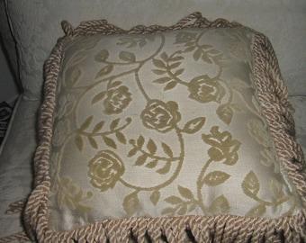Vintage Chenille Fringe Throw Pillows Tan Brocade