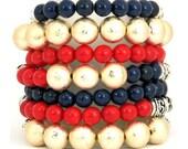 Nautical Bracelet Mix - Stretch Bracelets - Red - Blue - Gold - Retro - Fashion Jewelry - Gift Ideas