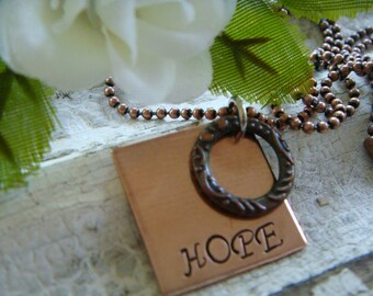 Inspirational HOPE Copper Necklace - Hope College