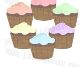 Digital Graphics Cupcake 6 Pack High Resolution Cupcake Graphics Commercial Use Ok