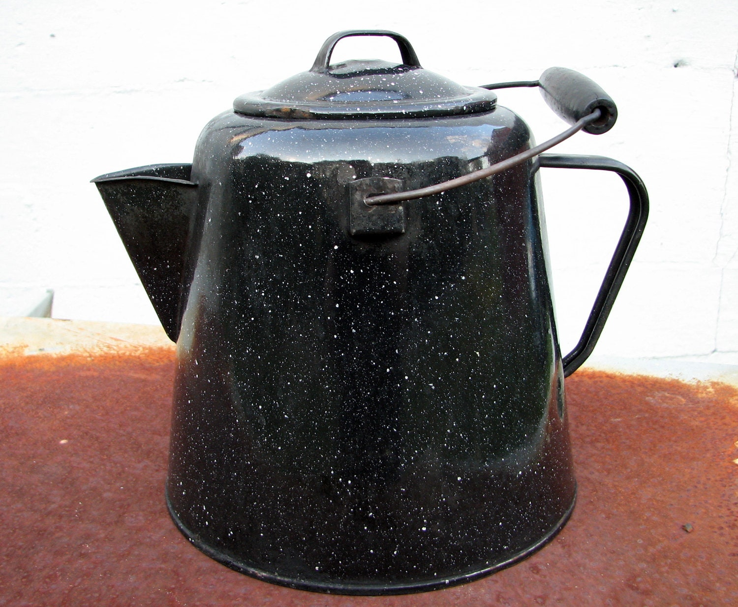 Large Enameled Steel Campfire Kettle Black Enamel With