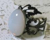 Opal Moon Antiqued Brass Filigree Ring - Antiqued Brass Filigree Adjustable Band