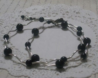 Black And Silver Modern Elegance Necklace - Jet Black Czech Druk Glass Round Beads And Silver Swirly Tubes