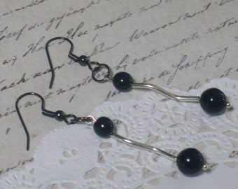 Black And Silver Modern Elegance Earrings - Jet Black Czech Druk Glass Round Beads And Silver Swirly Tubes