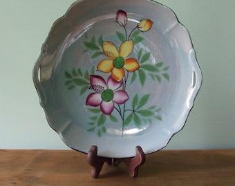Blue Floral Lusterware Plate Japan