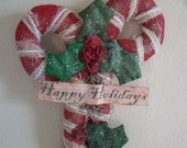 Large Primitive Xmas Glitter Candy Canes Wall/Door Hanger Made To Order