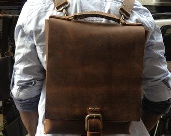 Computer backpack, Rucksack convertible backpack, Minimalist laptop bag, Custom made handmade leather backpacks, Made by hand