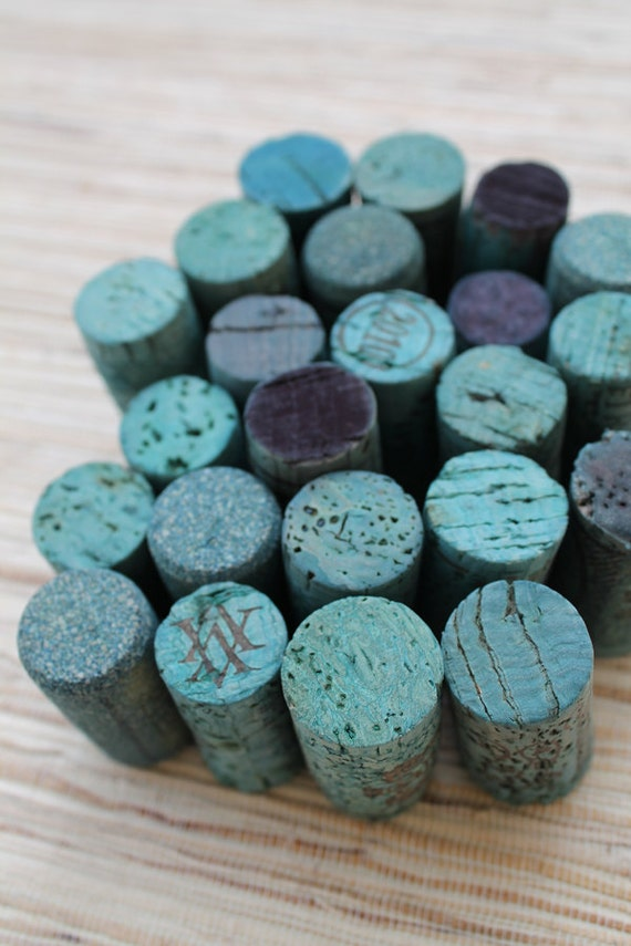 Colored Wine Corks - TEAL lot of 24, eco crafting supply, upcycle, craft, DIY