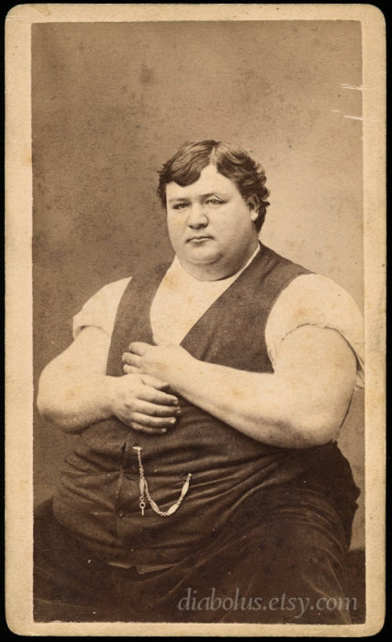 Victorian Sideshow CDV / Fat Man Frank Williams / 487 Pounds / Signed by Frank