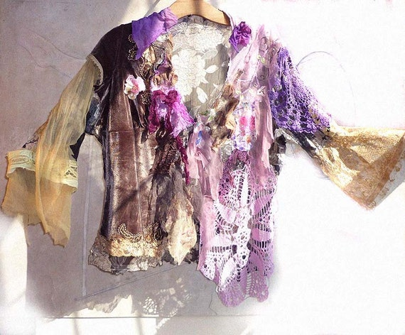 OFF Lovely Unique Jacket Hippi Boho Gipsy Wilde Very Feminine Violet Pink Yellow Brown Lavender