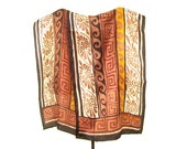 Bill Blass Oblong Silk Scarf,  11 x 53, Tribal Prints, Rust, Tan, Black, Gold, Great for Fall Winter Excellent Condition, Signed