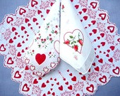 HANKIE ASSORTMENT, 3 Vintage Valentine Hankies, Red on White, Double Scalloped Edges, Embroidered, Great Condition, Romantic