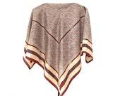 Macy's Italy Silk Scarf, 30 in. sq. Leather Belts, Tack, Herringbone Pattern, Cream, Navy, Burgundy Red, Geometric, Preppy, Like New