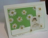 Handmade Card Real Pressed Flowers and Photo of Daisy Lady Blank Card Greeting Note