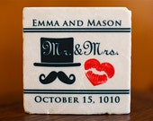 Wedding Favor Coasters Mustache and Heart Kiss Lipstick