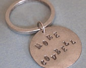 Handstamped Keychain Silver Plated More Cowbell (A)