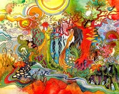 Bright colorful art sun forest creatures watercolor print