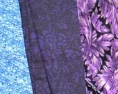 SALE Vintage Fabric Lot Purple Pieces scraps cutters Quilting art project cotton