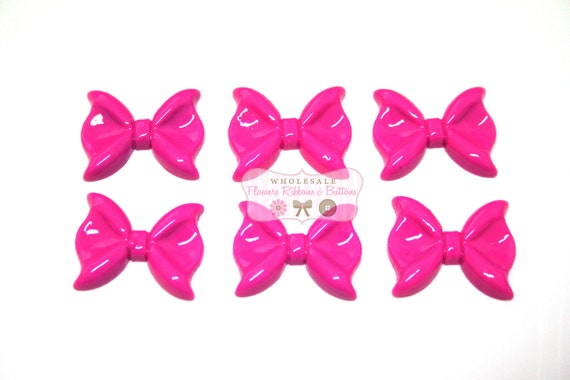 Hot Pink Resin Bow Embellishments 20 X 14mm Set Of 6